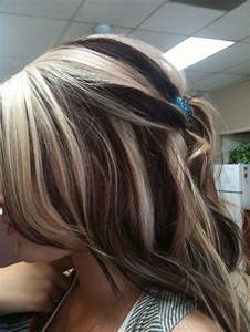 Blonde Hair With Chunky Brown Highlights Hairs Picture