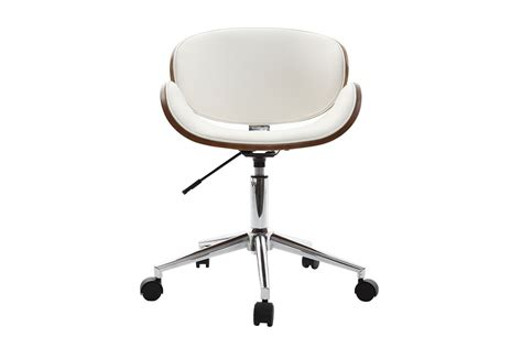miliboo chaises walnut wood and white office chair miliboo