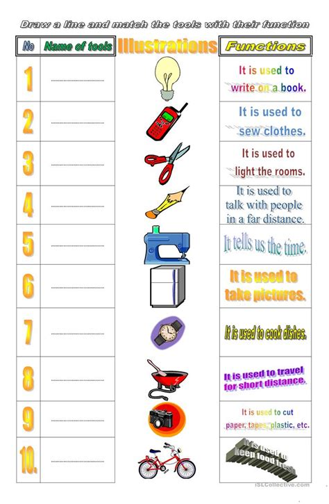 Tools And Their Function Worksheet  Free Esl Printable Worksheets Made By Teachers