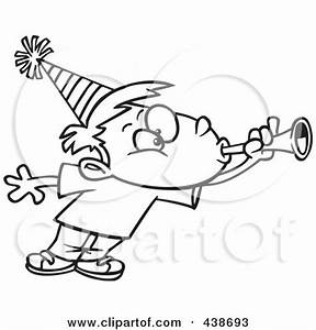 Party Horn Clip Art Black and White