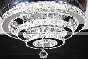 Crystal shade four hidden blades led ceiling light fan