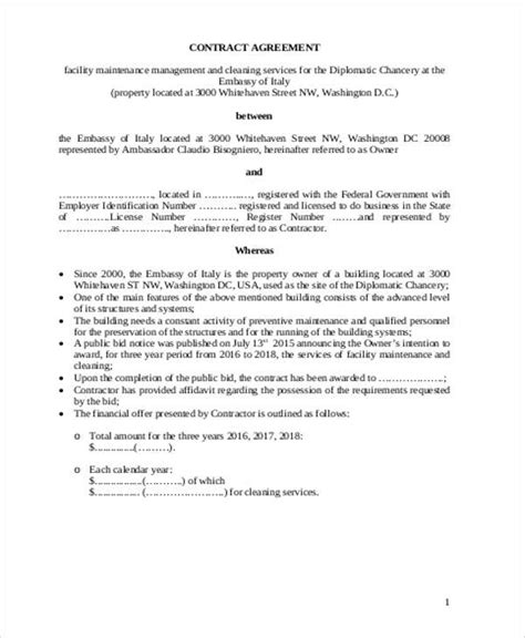 sample maintenance contract agreement  examples