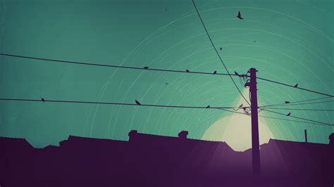 Vector Wallpaper Desktop by Electricity Pole Birds Illustration Desktop Wallpaper