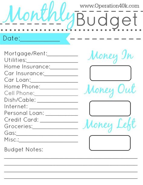 printable monthly budget planners kitty baby love