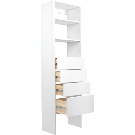 Closet Tower With Drawers by Modular Closets Wood Shelf Tower Closet Organizer System