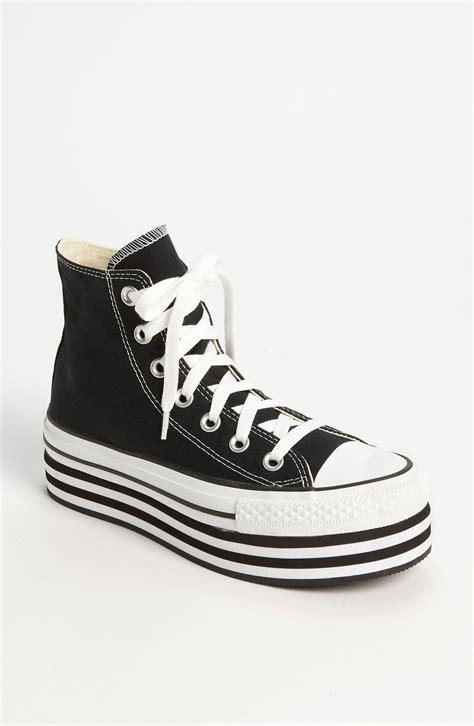 platform canvas slip ons lyst converse chuck platform hi sneaker in