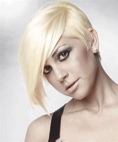 short straight alternative hairstyle  side swept bangs