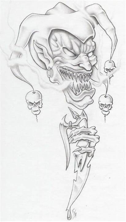 Clown Evil Tattoo Drawing Sketches Goblin Drawings