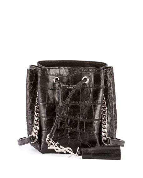 saint laurent monogram tassel croc embossed mini bucket bag