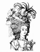 Antoinette Marie Coloring Clip Pages Adult Woman Queen Graphics 18th Century Hairdressing Fairy Ish Looking Lady 1880 Livre Coloriage Hair sketch template