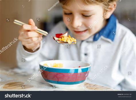 Little School Kid Boy Eating Cereals Stock Photo 604583138