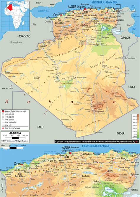 physical map  algeria ezilon maps