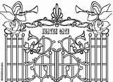 Heaven Coloring Pages Gate Gates Drawing Heavens Colorings Printable Getdrawings Heavenly sketch template