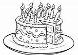 Cake Coloring Birthday Pages Printable sketch template