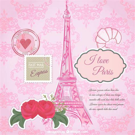plantilla de tarjeta de parís rosa descargar vectores gratis
