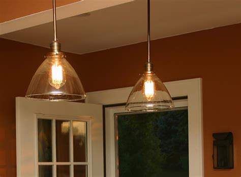 custom pendants with with blown glass shades and repro