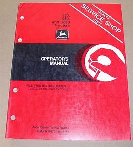 John Deere 850  950  1050 Tractors Operators Manual