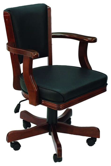cushioned adjustable height arm chair with casters
