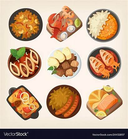 Dishes Different Dinner Drawing Countries Cuisines Vectorstock