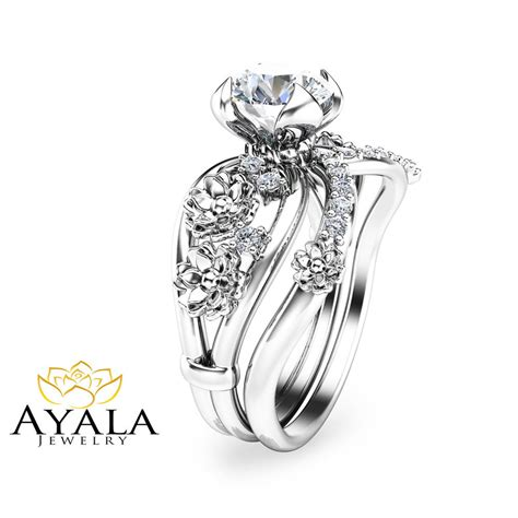 unusual wedding ring sets unique engagement ring floral 14k white gold bridal ring ebay