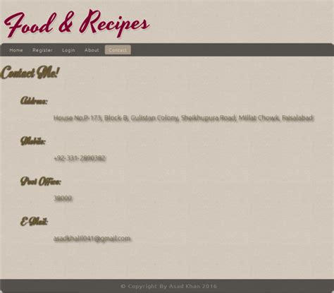 food recipe management system project