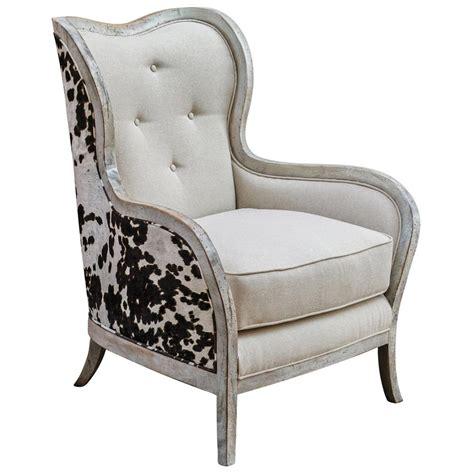Faux Cowhide Chair by Kendra Rustic Lodge Faux Cow Hide Velvet Linen Wing Chair