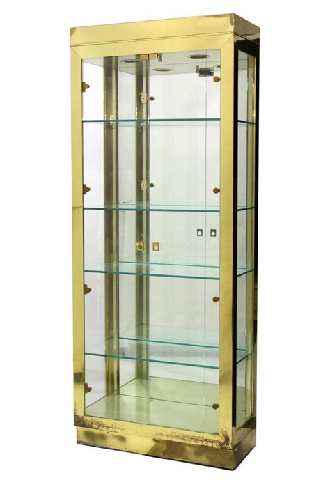 brass glass lighted stand up display cabinet march