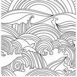 Coloring Sunset Ocean Waves Printable Sheets Digital Adult Abstract Mandala sketch template