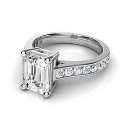 engagement rings emerald cut channel set cathedral emerald cut engagement ring