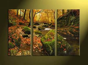 Piece green canvas nature wall art