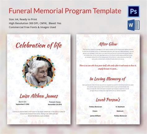 funeral memorial program templates word psd format
