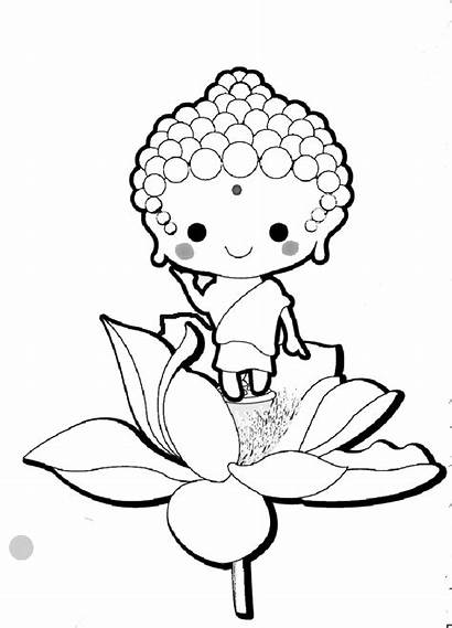 Buddha Coloring Cartoon Drawing Buddhist Birthday Celebration