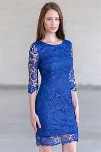 robe fourreau bleu royal en dentelle avec manches courtes With robe de cocktail combiné avec perle pandora bleu