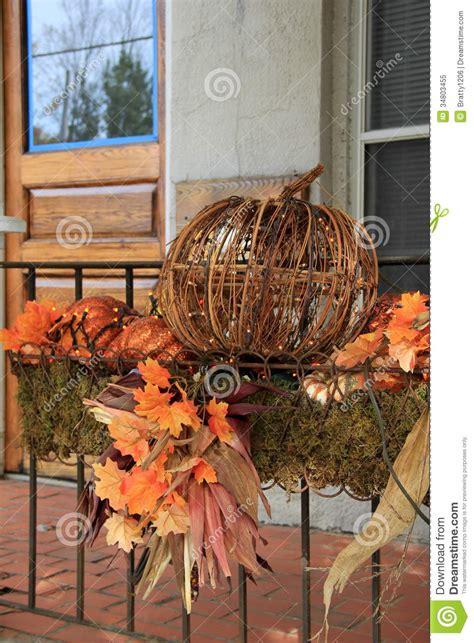 pretty fall decoration  metal railing royalty  stock