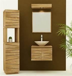 achat vente meuble de salle de bain teck a suspendre With meuble de salle de bain hygena