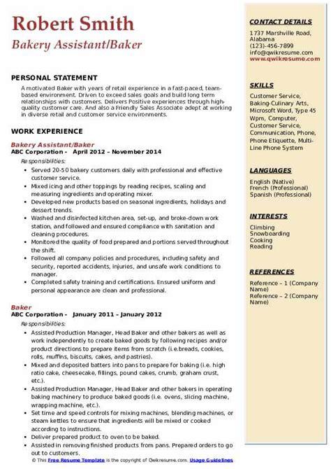 baker resume samples qwikresume