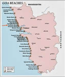 Detail Candolim Beach Goa India Location Map