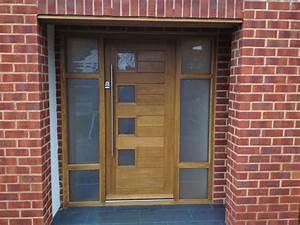 Contemporary Front Door with Glass panel door & exterior