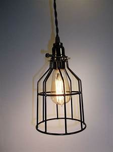 Industrial Wire Cage Light Pendant Fixture Edison Style