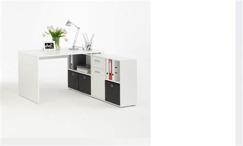 bureau pivotant bureau d 39 angle réversible avec rangements blanc turno 2