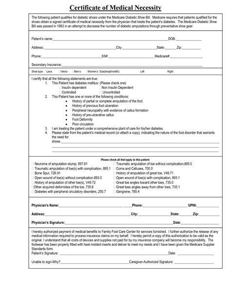 Certificate Of Medical Necessity Form Template - Costumepartyrun