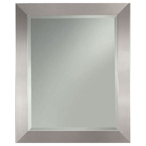 silver bathroom mirror lowes shop allen roth 27 25 in x 33 25 in silver leaf beveled