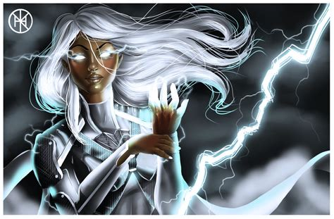 Storm is the descendant of an ancient line of african priestesses all of whom have white hair, blue eyes, and the potential to wield magic. Storm from X Men by Davickrovich on DeviantArt