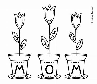 Coloring Pages Mom Mother Flowers Happy Printable