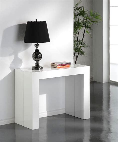 buffet de cuisine pas cher table console extensible glossy blanc laquee table