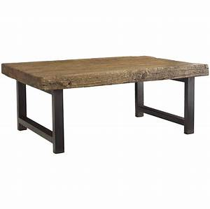 Rustica iron leg coffee table iron living rooms and coffee for Wood coffee table with iron legs