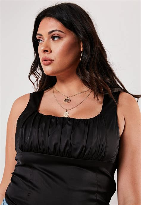 Plus Size Black Satin Ruched Corset Top | Missguided