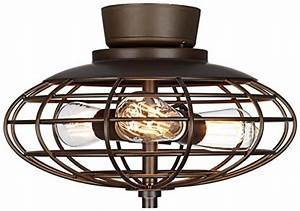 Ceiling fan cage light kit : Oil rubbed bronze industrial cage watt ceiling fan