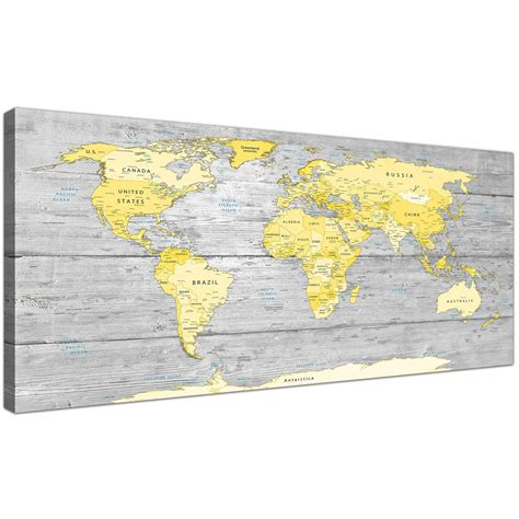 grey and yellow room decor large yellow grey map of atlas canvas wall print