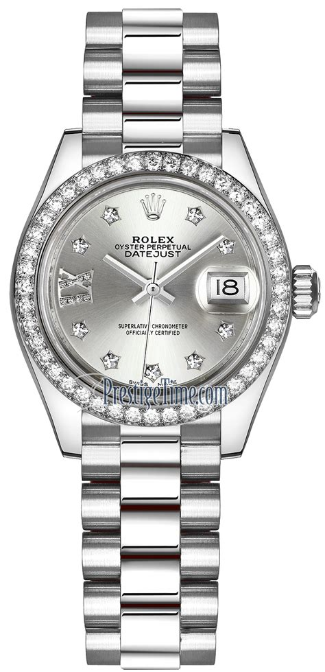 279136RBR Silver 17 Diamond President Rolex Lady Datejust ...